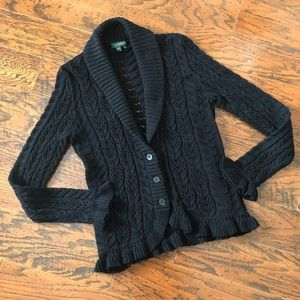 Ralph Lauren Shawl Collar Cable Knit Cardigan